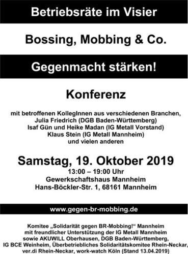 """Einladungsflyer """"Konferenz gegen BR-Mobbing"""" am 19. Oktober 2019"""