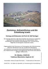 """Einladungsflugblatt zur Veranstaltung """"Antisemitismus und die Entstehung Israels"""" am 29.10.19"""