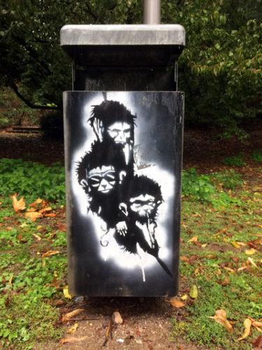 Die drei Affen, Graffiti in Mannheim, 06. Oktober 2019 (Foto: Avanti²)
