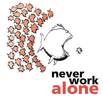 "Logo ""never work alone"""