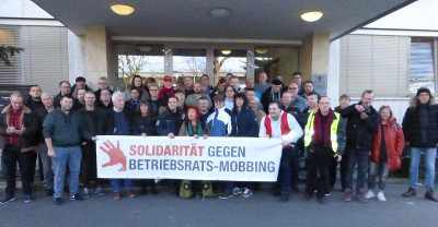 Solidaritätsaktion vor dem Arbeitsgericht in Mannheim, 15. Januar 2020 (Foto: Privat)