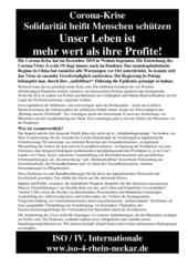 Corona-Krise: Flugblatt der ISO Rhein-Neckar vom 16.03.2020