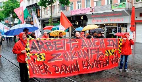 Protest gegen Arbeitsplatzabbau am 1. Mai 2017 in Mannheim (Foto: helmut-roos@web.de)