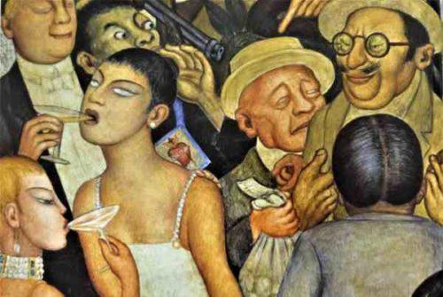 """Ausschnitt aus Diego Riveras Fresko """"Die Orgie"""", Mexico-City 1928 (Bildnachweis: Privat)"""