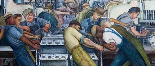 """Auschnitt aus Diego Riveras Fresko """"Fabrik in Detroit"""", Detroit 1932-33 (Bildnachweis: Privat)"""