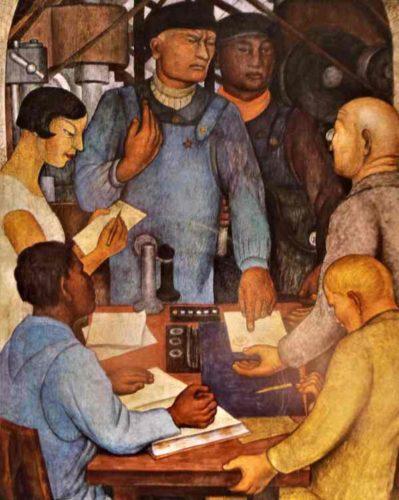 """Ausschnitt aus Diego Riveras Fresko """"Die Genossenschaft"""", Mexico-City 1928 (Bildnachweis: Privat)"""
