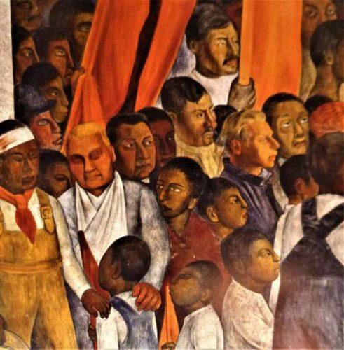"""Ausschnitt aus Diego Riveras Fresko """"Versammlung"""", Mexico-City 1924 (Bildnachweis: Privat)"""