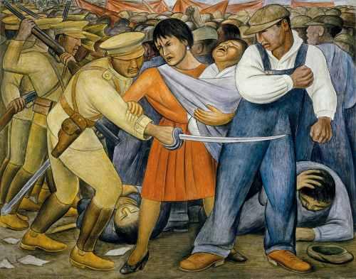 """Ausschnitt aus Diego Riveras Fresko """"Aufstand"""", Mexico-City 1931 (Bildnachweis: Privat)"""