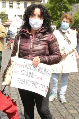 Kundgebung am 1. Mai 2020 auf dem Marktplatz in Mannheim (Foto: helmut-roos@web.de)
