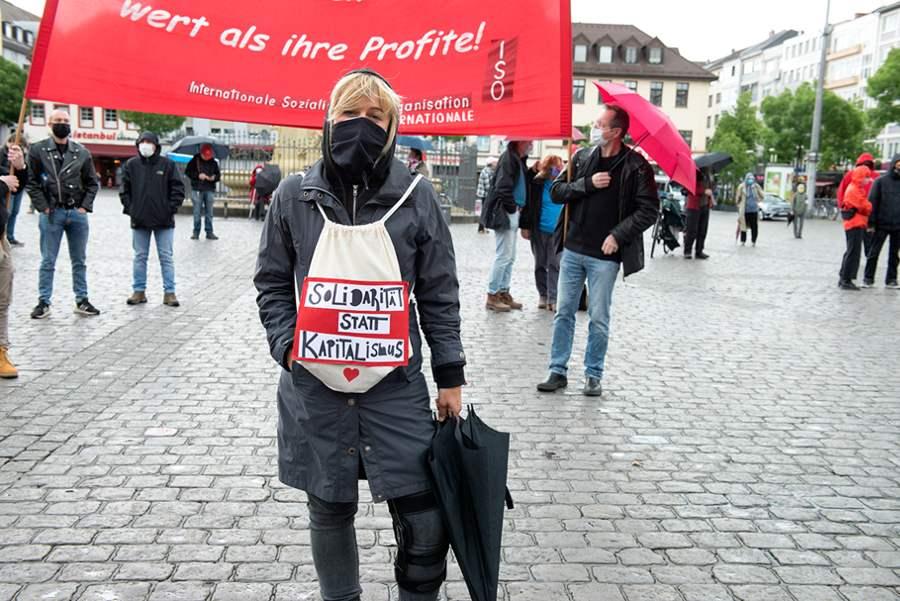 Kundgebung am 1. Mai auf dem Marktplatz in Mannheim (Foto: Barbara Straube)