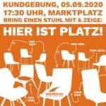 """Aufruf zur Kundgebung """"Hier ist Platz"""" am 05.09.2020"""