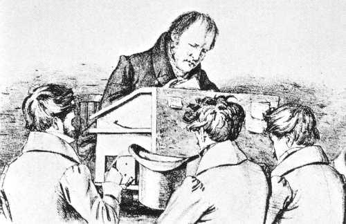 G. F. W. Hegel mit Studenten (Lithographie F. Kugler; Bild: Gemeinfrei)