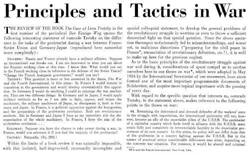 """In The New International erschien 1938 Rudolf Klements Artikel """"Zu den Aufgaben des Proletariats im Kriege"""" in Englisch (Bild: Privatarchiv)"""