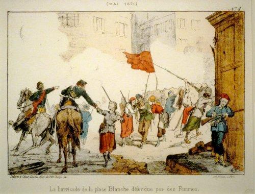 Die von Frauen verteidigte Barrikade am Place Blanche [Mai 1871] (Litographie: Hector Moloch; Gemeinfrei)