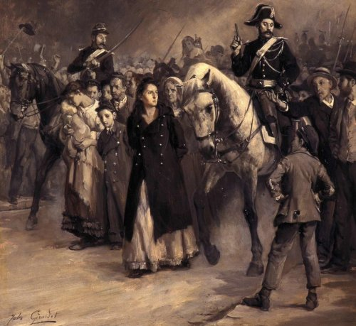 Die Verhaftung von Louise Michel am 24. Mai 1871 (Gemälde: Jules Girardet; Gemeinfrei)