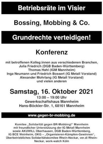 Einladungsflyer zur Konferenz gegen BR-Mobbing 2021