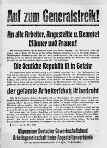 Aufruf zum Generalstreik gegen den Kapp-Putsch 1920. (Foto: Gemeinfrei.)