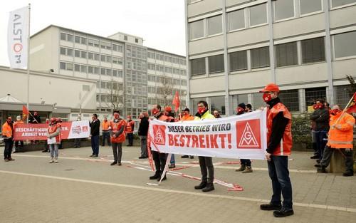 Warnstreik bei Alstom Mannheim, 23. März 2021. (Foto: helmut-roos@web.de.)