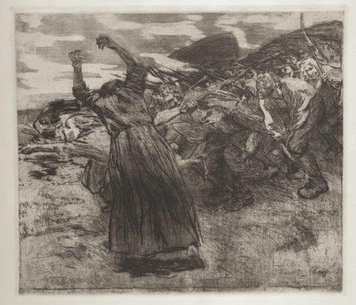 """Käthe Kollwitz, Losbruch (Blatt 5 aus dem Zyklus """"Bauernkrieg""""), 1902/03, Strichätzung. (Bild: Gemeinfrei.)"""
