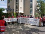 Protest gegen BR-Mobbing vor dem Arbeitsgericht Darmstadt, 8. August 2019. (Foto: Privat.)